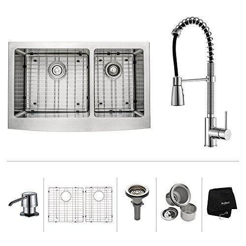 Kraus KHF203 36 KPF1612 KSD30CH 36 Inch Farmhouse Double Bowl Stainless Steel Kitchen Sink With Chrome Kitchen Faucet And Soap Dispenser 0 0