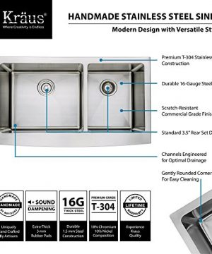 Kraus KHF203 36 KPF1612 KSD30CH 36 Inch Farmhouse Double Bowl Stainless Steel Kitchen Sink With Chrome Kitchen Faucet And Soap Dispenser 0 2 300x360