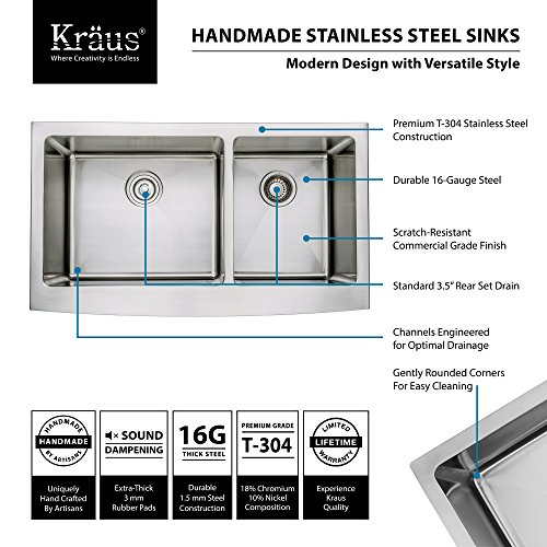 Kraus KHF203 36 KPF1612 KSD30CH 36 Inch Farmhouse Double Bowl Stainless Steel Kitchen Sink With Chrome Kitchen Faucet And Soap Dispenser 0 2