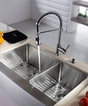 Kraus KHF203 36 KPF1612 KSD30CH 36 Inch Farmhouse Double Bowl Stainless Steel Kitchen Sink With Chrome Kitchen Faucet And Soap Dispenser 0 300x360