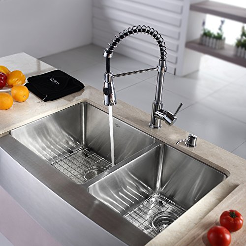 Kraus KHF203 36 KPF1612 KSD30CH 36 Inch Farmhouse Double Bowl Stainless Steel Kitchen Sink With Chrome Kitchen Faucet And Soap Dispenser 0