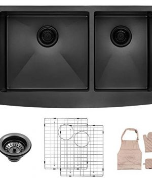 LORDEAR LA3321R2 64 33 Inch Black Farmhouse Apron 6040 Deep Double Bowl 16 Gauge Stainless Steel Kitchen Sink 0 300x360