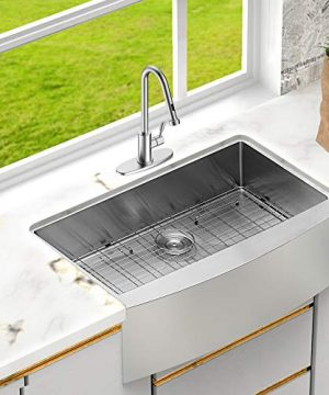LORDEAR SLJ16003 Commercial 33 Inch 16 Gauge 10 Inch Deep Drop In Stainless Steel Undermout Single Bowl Farmhouse Apron Front Kitchen Sink Brushed Nickel Farmhouse Kitchen Sink 0 1 300x360