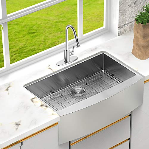 LORDEAR SLJ16003 Commercial 33 Inch 16 Gauge 10 Inch Deep Drop In Stainless Steel Undermout Single Bowl Farmhouse Apron Front Kitchen Sink Brushed Nickel Farmhouse Kitchen Sink 0 1