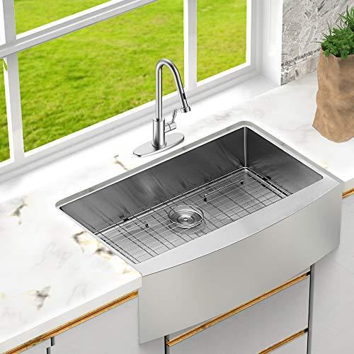 Lordear 33 Inch Farmhouse Sink Apron Front 16 Gauge Tight Radius Deep  Single Bowl Kitchen Sink