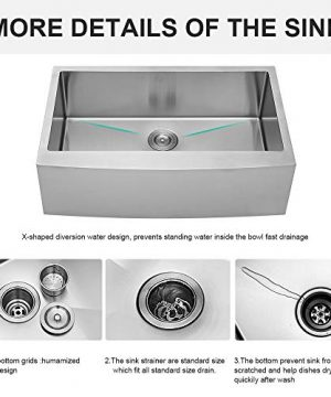 LORDEAR SLJ16003 Commercial 33 Inch 16 Gauge 10 Inch Deep Drop In Stainless Steel Undermout Single Bowl Farmhouse Apron Front Kitchen Sink Brushed Nickel Farmhouse Kitchen Sink 0 2 300x360