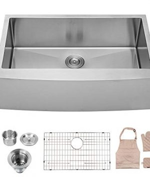 LORDEAR SLJ16003 Commercial 33 Inch 16 Gauge 10 Inch Deep Drop In Stainless Steel Undermout Single Bowl Farmhouse Apron Front Kitchen Sink Brushed Nickel Farmhouse Kitchen Sink 0 300x360