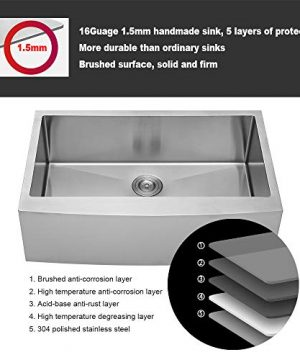 LORDEAR SLJ16003 Commercial 33 Inch 16 Gauge 10 Inch Deep Drop In Stainless Steel Undermout Single Bowl Farmhouse Apron Front Kitchen Sink Brushed Nickel Farmhouse Kitchen Sink 0 5 300x360