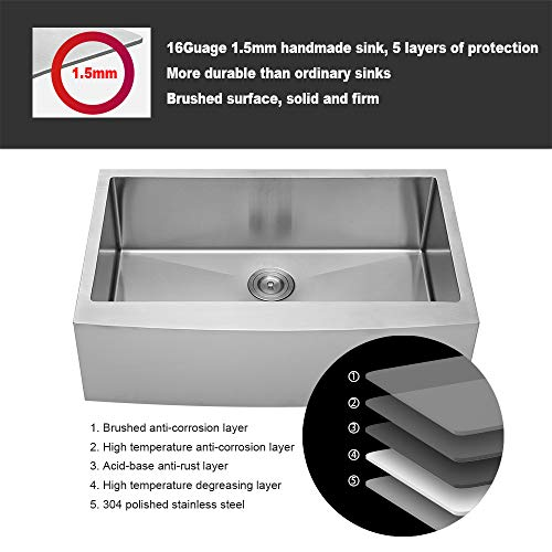 LORDEAR SLJ16003 Commercial 33 Inch 16 Gauge 10 Inch Deep Drop In Stainless Steel Undermout Single Bowl Farmhouse Apron Front Kitchen Sink Brushed Nickel Farmhouse Kitchen Sink 0 5