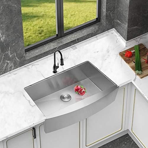 Logmey 33 Inch Farmhouse Kitchen Sink Apron Front Deep Single Bowl 18 Gauge  Stainless Steel Kitchen Sink