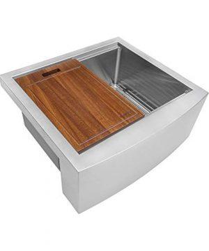 Ruvati 24 Inch Apron Front Workstation Farmhouse Kitchen Sink 16 Gauge Stainless Steel Single Bowl RVH9020 0 300x360