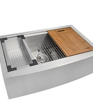 Ruvati 33 Inch Apron Front Workstation Farmhouse Kitchen Sink 16 Gauge Stainless Steel Single Bowl RVH9200 0 300x360