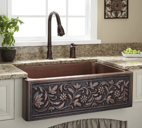 Signature Hardware 30 Vine Design Farmhouse Single Basin Copper Kitchen Sink