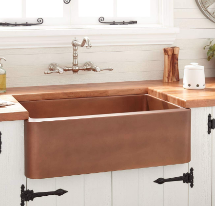 Signature Hardware Kembla 30 Farmhouse Single Basin Copper Kitchen Sink