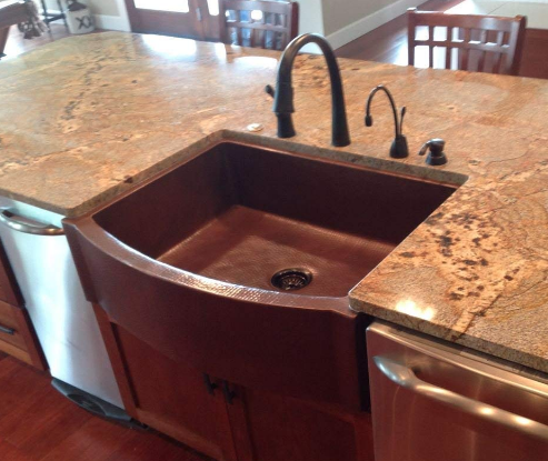 Soluna 33 Rounded Front Flat Ends Copper Farmhouse Sink