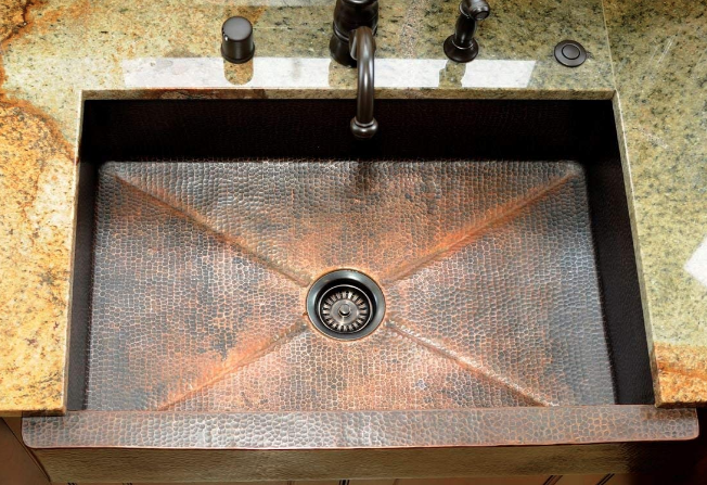Soluna 33 Soluna Copper Farmhouse Sink - Fernanda Single Well Sink
