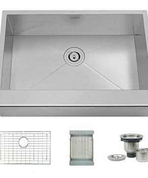TORVA 30 Inch Apron Front Farmhouse Kitchen Sink Single Bowl 16 Gauge Stainless Steel Flat Front 0 300x360