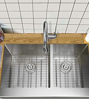 TORVA 33 Inch Farmhouse Kitchen Sink Apron Front 6040 Double Bowl Flat Front 16 Gauge Stainless Steel 0 1 300x333
