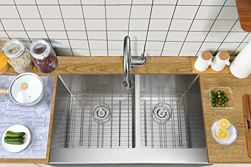TORVA 33 Inch Farmhouse Kitchen Sink Apron Front 6040 Double Bowl Flat Front 16 Gauge Stainless Steel 0 1