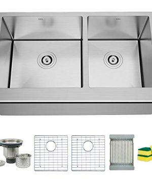 TORVA 33 Inch Farmhouse Kitchen Sink Apron Front 6040 Double Bowl Flat Front 16 Gauge Stainless Steel 0 300x360