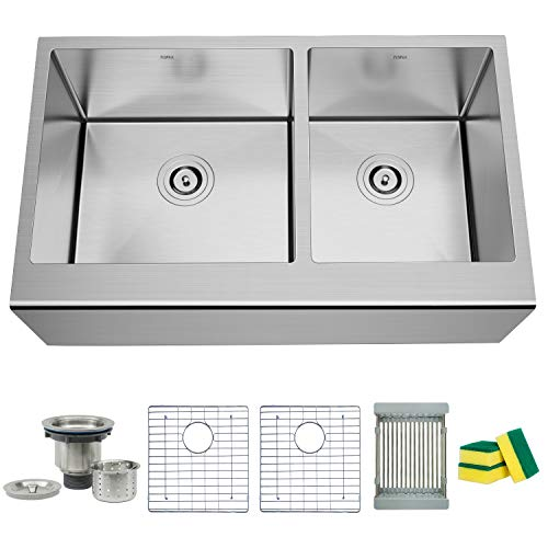TORVA 33 Inch Farmhouse Kitchen Sink Apron Front 6040 Double Bowl Flat Front 16 Gauge Stainless Steel 0