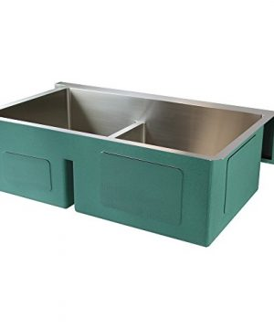 Transolid DUDOF362010 Diamond Apron Front 6040 Double Bowl 16 Gauge Stainless Steel Kitchen Sink 36 In X 20 In X 10 In Brushed Finish 0 0 300x360