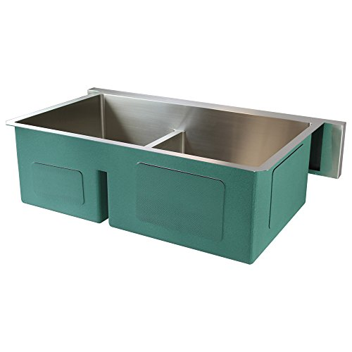 Transolid DUDOF362010 Diamond Apron Front 6040 Double Bowl 16 Gauge Stainless Steel Kitchen Sink 36 In X 20 In X 10 In Brushed Finish 0 0