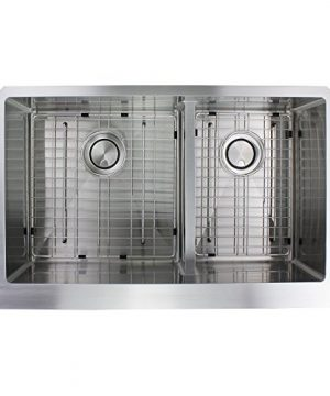 Transolid DUDOF362010 Diamond Apron Front 6040 Double Bowl 16 Gauge Stainless Steel Kitchen Sink 36 In X 20 In X 10 In Brushed Finish 0 2 300x360