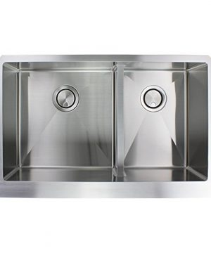 Transolid DUDOF362010 Diamond Apron Front 6040 Double Bowl 16 Gauge Stainless Steel Kitchen Sink 36 In X 20 In X 10 In Brushed Finish 0 3 300x360