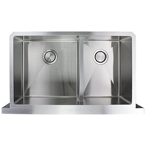 Transolid DUDOF362010 Diamond Apron Front 6040 Double Bowl 16 Gauge Stainless Steel Kitchen Sink 36 In X 20 In X 10 In Brushed Finish 0 3