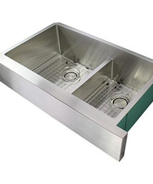 Transolid DUDOF362010 Diamond Apron Front 6040 Double Bowl 16 Gauge Stainless Steel Kitchen Sink 36 In X 20 In X 10 In Brushed Finish 0 300x360