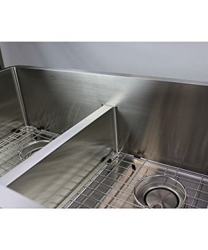 Transolid DUDOF362010 Diamond Apron Front 6040 Double Bowl 16 Gauge Stainless Steel Kitchen Sink 36 In X 20 In X 10 In Brushed Finish 0 4 300x360