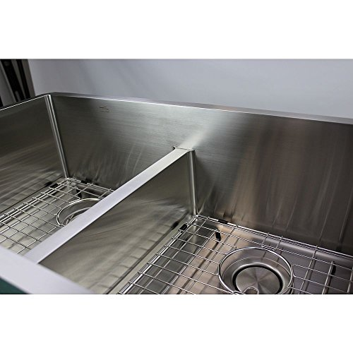 Transolid DUDOF362010 Diamond Apron Front 6040 Double Bowl 16 Gauge Stainless Steel Kitchen Sink 36 In X 20 In X 10 In Brushed Finish 0 4