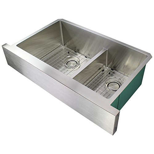 Transolid DUDOF362010 Diamond Apron Front 6040 Double Bowl 16 Gauge Stainless Steel Kitchen Sink 36 In X 20 In X 10 In Brushed Finish 0