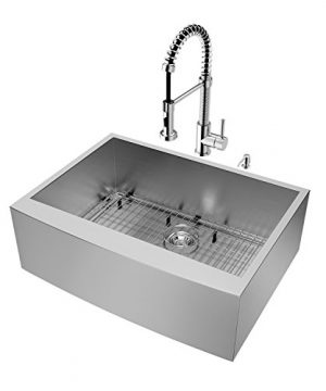 VIGO 30 Inch Farmhouse Apron Single Bowl 16 Gauge Stainless Steel Kitchen Sink With Edison Chrome Faucet Grid Strainer And Soap Dispenser 0 0 300x360