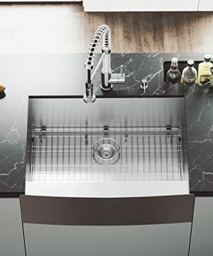 VIGO 30 Inch Farmhouse Apron Single Bowl 16 Gauge Stainless Steel Kitchen Sink With Edison Chrome Faucet Grid Strainer And Soap Dispenser 0 2 300x360