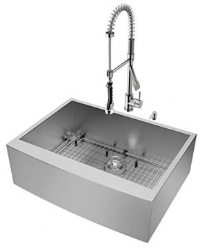 VIGO 30 Inch Farmhouse Apron Single Bowl 16 Gauge Stainless Steel Kitchen Sink With Zurich Stainless Steel Faucet Grid Strainer And Soap Dispenser 0 0 300x360