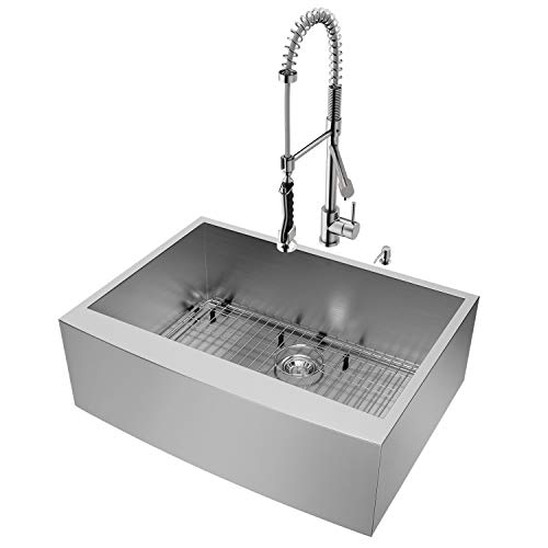VIGO 30 Inch Farmhouse Apron Single Bowl 16 Gauge Stainless Steel Kitchen Sink With Zurich Stainless Steel Faucet Grid Strainer And Soap Dispenser 0 0