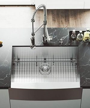 VIGO 30 Inch Farmhouse Apron Single Bowl 16 Gauge Stainless Steel Kitchen Sink With Zurich Stainless Steel Faucet Grid Strainer And Soap Dispenser 0 2 300x360
