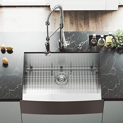 VIGO 30 Inch Farmhouse Apron Single Bowl 16 Gauge Stainless Steel Kitchen Sink With Zurich Stainless Steel Faucet Grid Strainer And Soap Dispenser 0 2