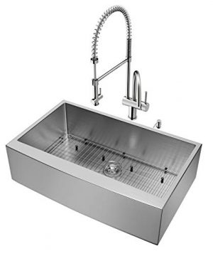 VIGO 36 Inch Farmhouse Apron Single Bowl 16 Gauge Stainless Steel Kitchen Sink With Dresden Stainless Steel Faucet Grid Strainer And Soap Dispenser 0 0 300x360