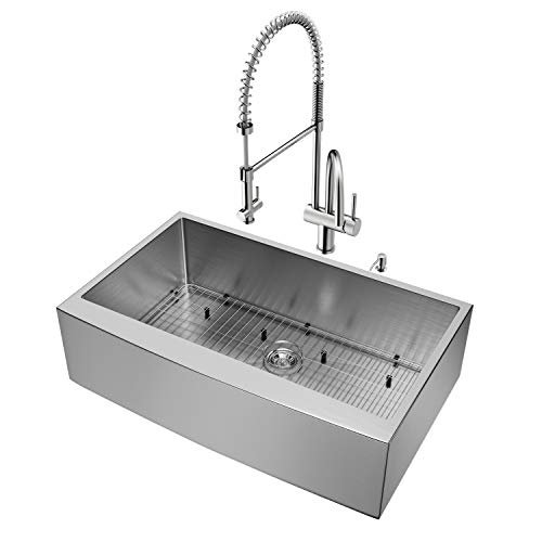 VIGO 36 Inch Farmhouse Apron Single Bowl 16 Gauge Stainless Steel Kitchen Sink With Dresden Stainless Steel Faucet Grid Strainer And Soap Dispenser 0 0