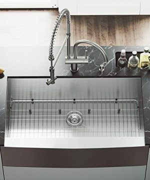 VIGO 36 Inch Farmhouse Apron Single Bowl 16 Gauge Stainless Steel Kitchen Sink With Dresden Stainless Steel Faucet Grid Strainer And Soap Dispenser 0 2 300x360