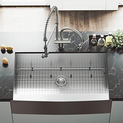 VIGO 36 Inch Farmhouse Apron Single Bowl 16 Gauge Stainless Steel Kitchen Sink With Dresden Stainless Steel Faucet Grid Strainer And Soap Dispenser 0 2