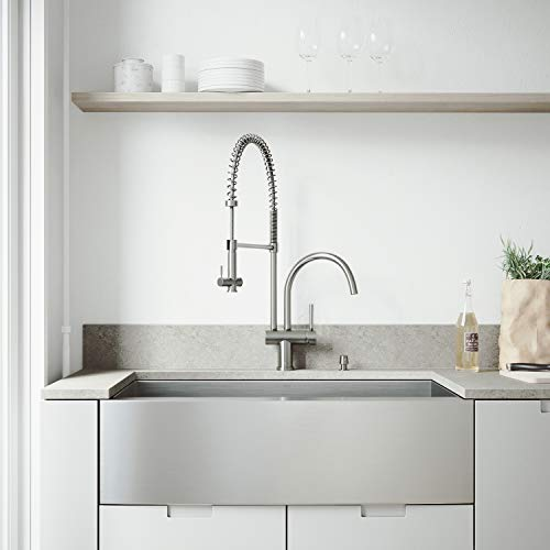 VIGO 36 Inch Farmhouse Apron Single Bowl 16 Gauge Stainless Steel Kitchen Sink With Dresden Stainless Steel Faucet Grid Strainer And Soap Dispenser 0