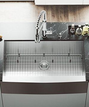 VIGO 36 Inch Farmhouse Apron Single Bowl 16 Gauge Stainless Steel Kitchen Sink With Edison Chrome Faucet Grid Strainer And Soap Dispenser 0 300x360