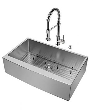 VIGO 36 Inch Farmhouse Apron Single Bowl 16 Gauge Stainless Steel Kitchen Sink With Edison Stainless Steel Faucet Grid Strainer And Soap Dispenser 0 0 300x360