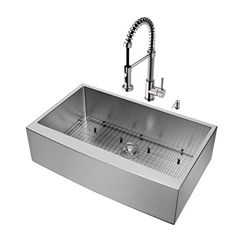 VIGO 36 Inch Farmhouse Apron Single Bowl 16 Gauge Stainless Steel Kitchen Sink With Edison Stainless Steel Faucet Grid Strainer And Soap Dispenser 0 0