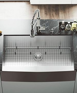 VIGO 36 Inch Farmhouse Apron Single Bowl 16 Gauge Stainless Steel Kitchen Sink With Edison Stainless Steel Faucet Grid Strainer And Soap Dispenser 0 2 300x360