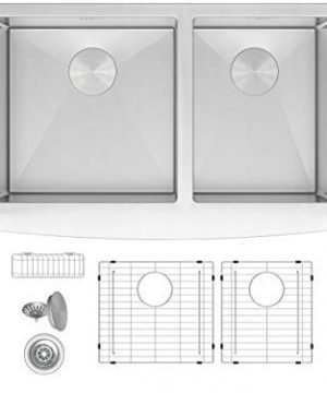 ZUHNE Turin 33 Inch Farmhouse Apron Front 6040 Deep Double Bowl 16 Gauge Stainless Steel Kitchen Sink With Grate Protector Two Drain Strainers And Sink Caddy 0 300x360